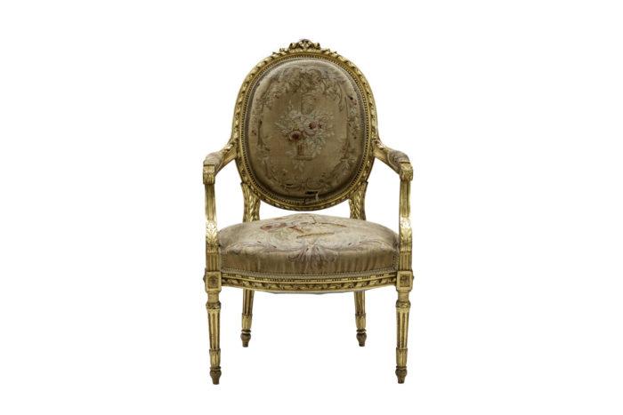 fauteuils style louis xvi bois doré tapisserie aubusson face