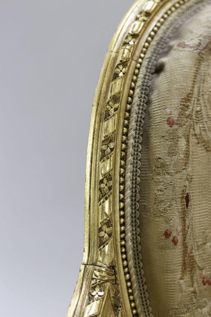 fauteuils style louis xvi bois doré tapisserie aubusson ruban