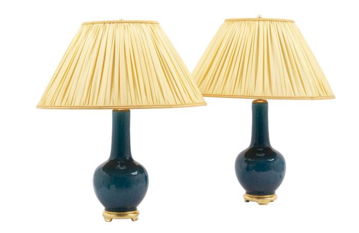 lampes faïence bleue bois doré
