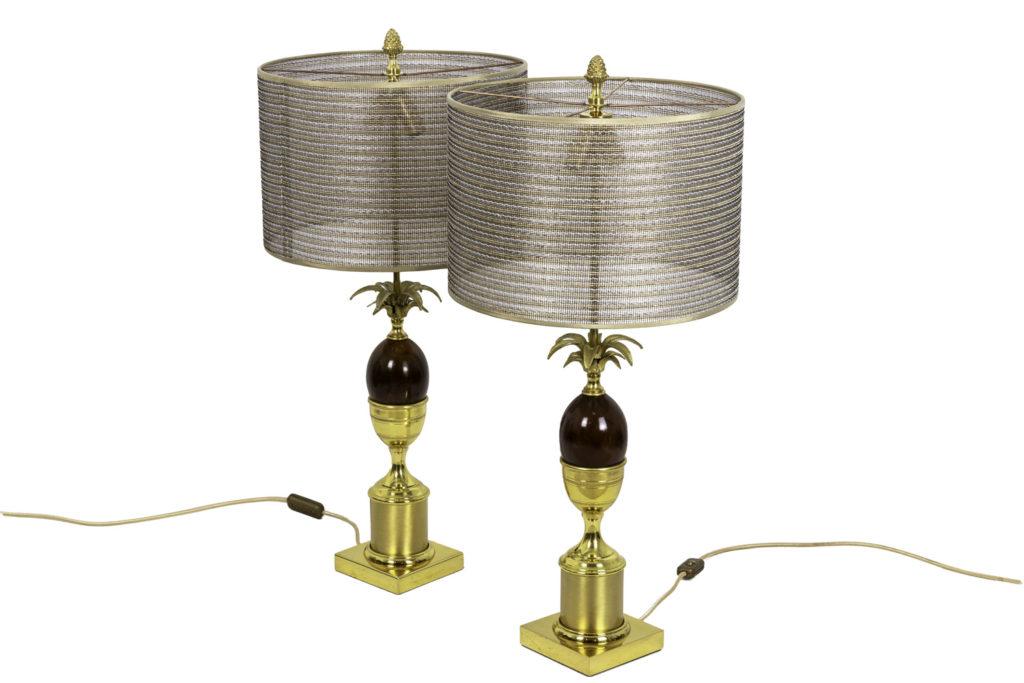 Paire de lampes Œuf en bakélite et bronze doré, années 1970