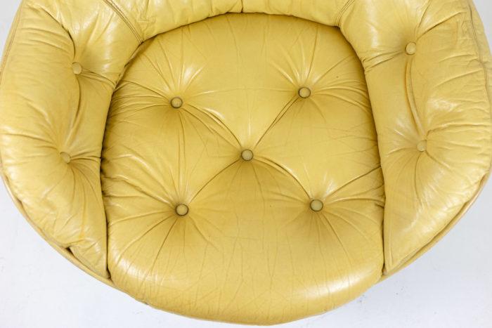michel cadestin fauteuil karaté assise cuir crème