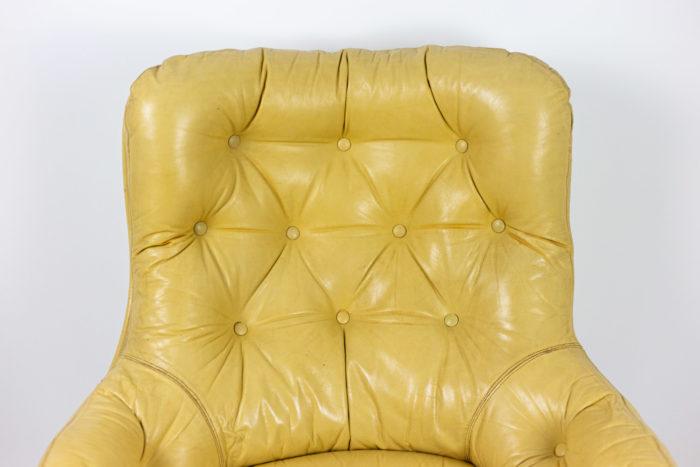 michel cadestin fauteuil karaté dossier cuir crème