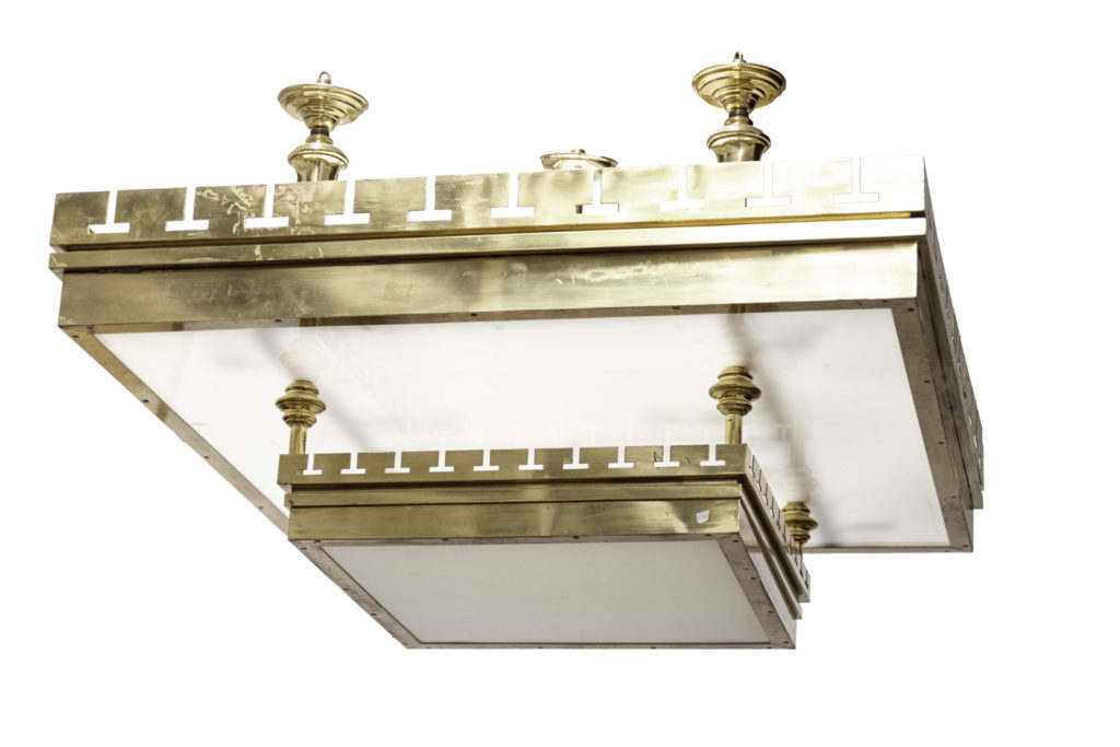 Large ceiling light in gilt brass and lucite, 1970's