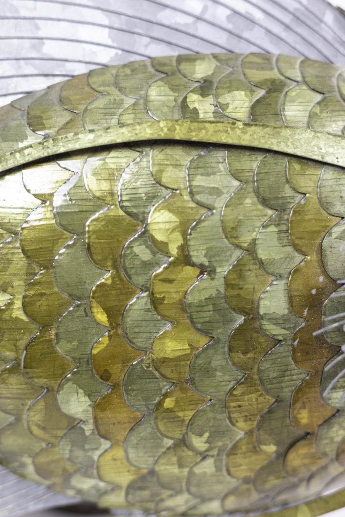 poisson feuilles cuivre étain laiton écailles