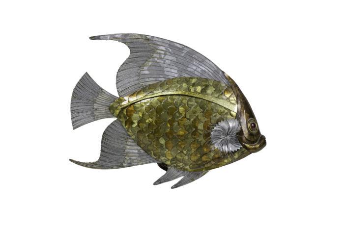 poisson feuilles cuivre étain laiton 1970