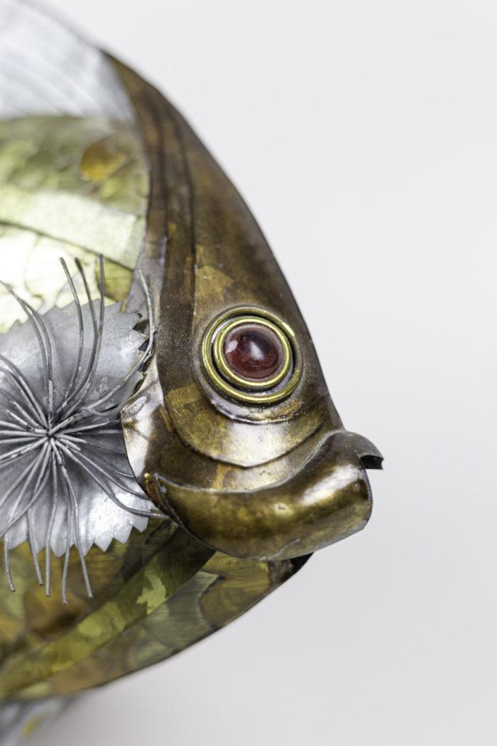 poisson feuilles cuivre étain laiton tête