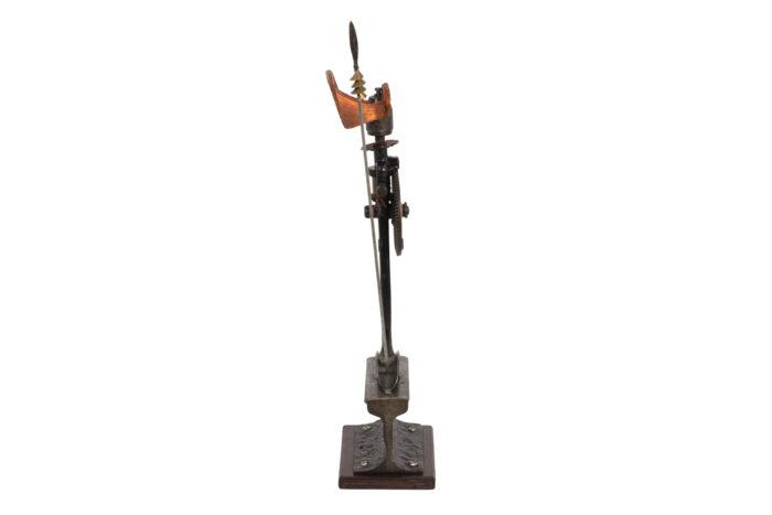 sculpture bronze guerrier africain side