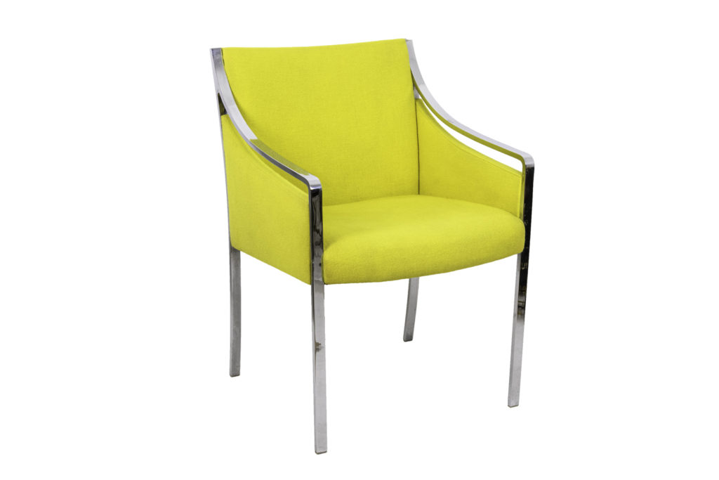 Stow Davis, Armchair in chromed metal and yellow fabric, 1980's