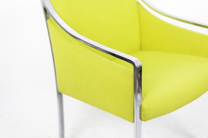 stow davis fauteuil métal chromé tissu jaune accotoir
