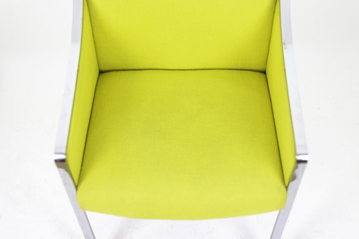 stow davis armchair chromed metal yellow fabric seat