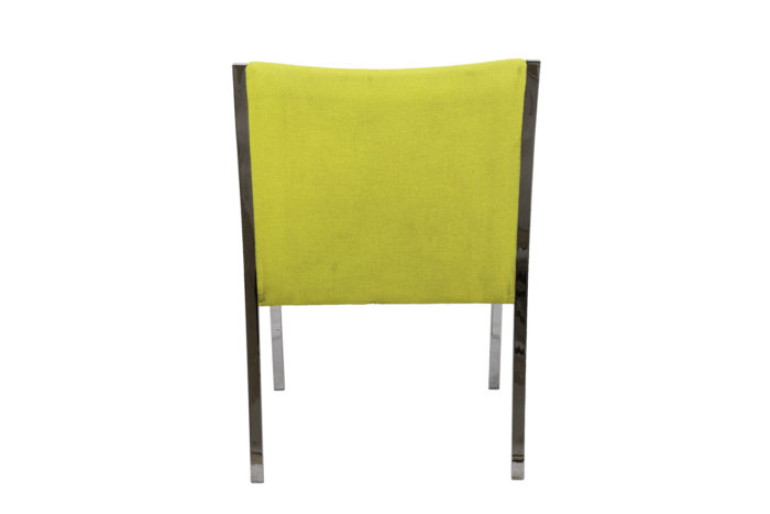 stow davis armchair chromed metal yellow fabric back