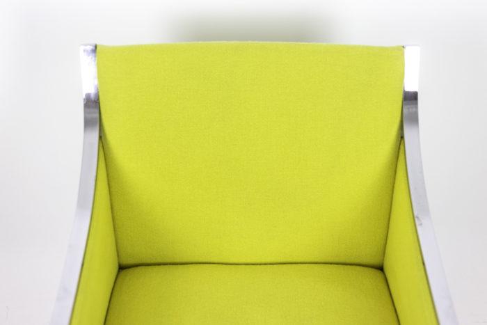 stow davis fauteuil métal chromé tissu jaune dossier