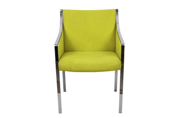 stow davis armchair chromed metal yellow fabric face