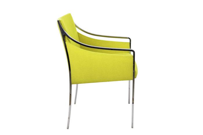 stow davis fauteuil métal chromé tissu jaune side