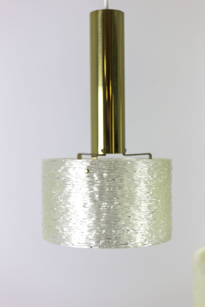 suspension résine granitée laiton doré abat-jour