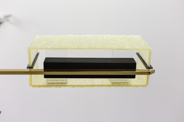 suspension résine granitée laiton doré métal laqué noir