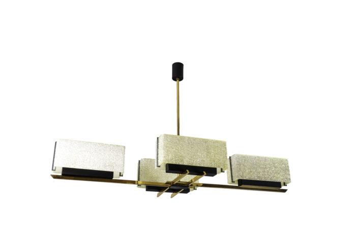 suspension résine granitée laiton doré métal noir