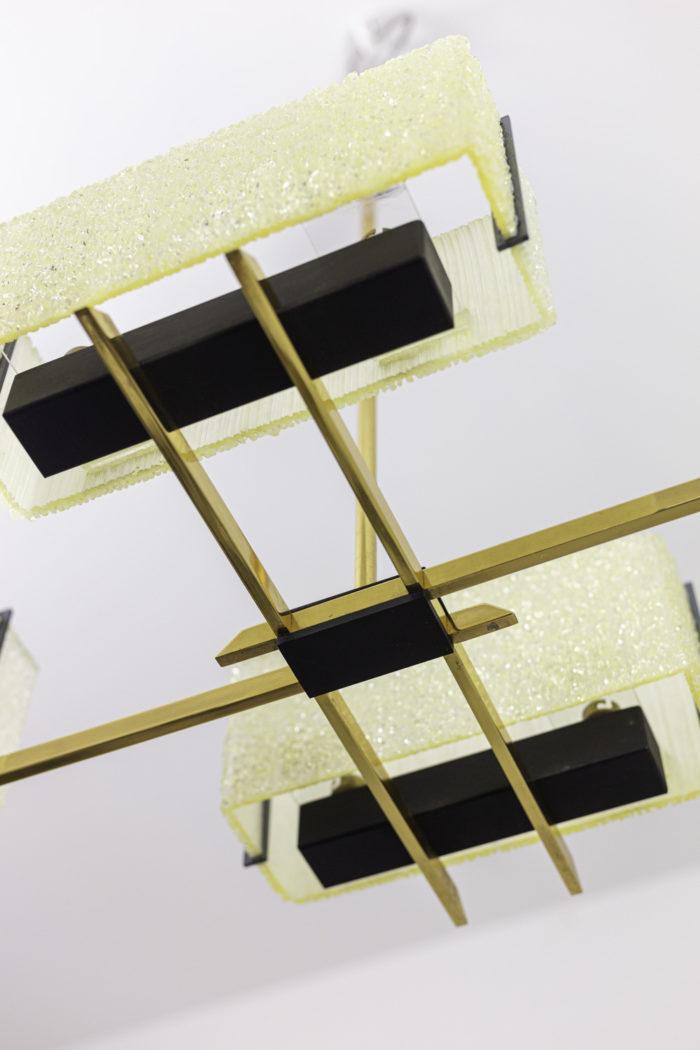 suspension résine granitée laiton doré métal noir dessous