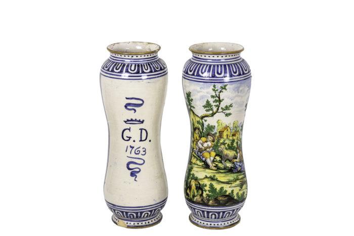 vases faïence polychrome majolique italienne 2