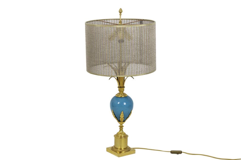 Lampe en opaline turquoise et bronze doré, années 1970