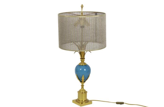 lampe opaline turquoise bronze doré