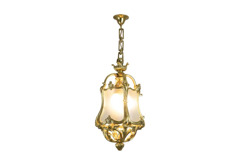 Lanterne style Louis XV en bronze doré et verre, circa 1900