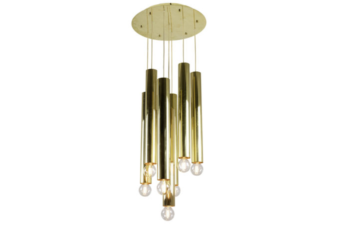raak chandelier 7 lights tubes gilt brass