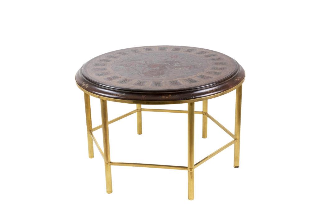 Table basse en laque style persan et bronze doré, années 1950