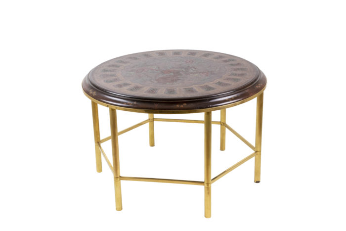 coffee table persian style lacquer gilt bronze