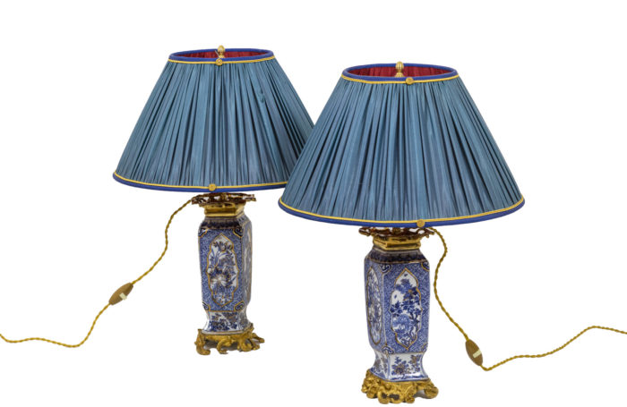 Pair of lamps in porcelain blue white 1