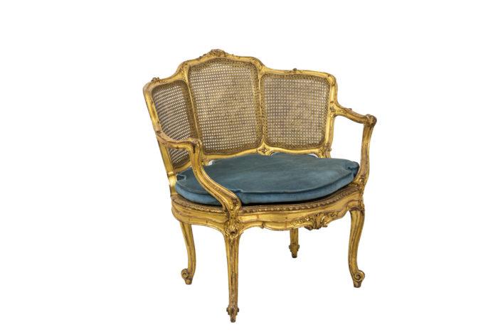 Marquise Louis XV en bois doré 3/4