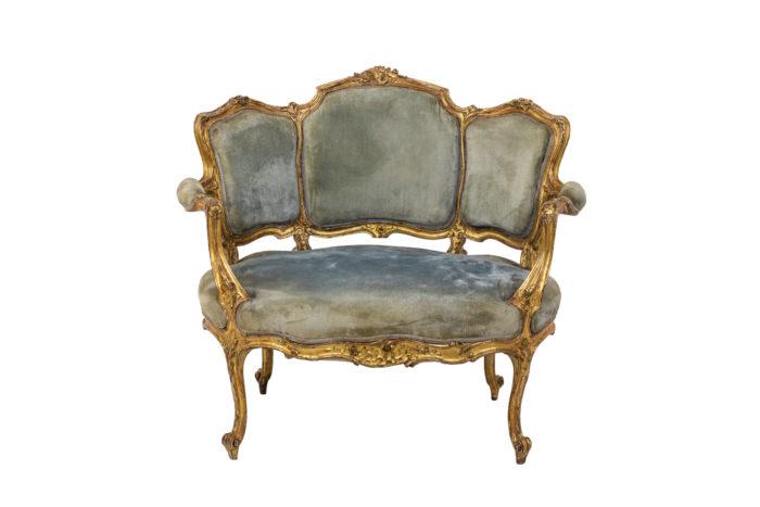 Marquise style Louis XV garnie de velours bleu face