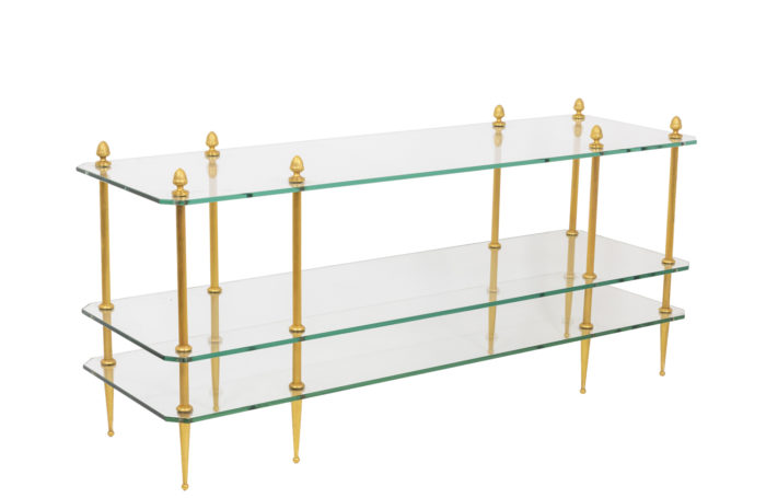 Gilt bronze coffee table with 3 glass trays 1