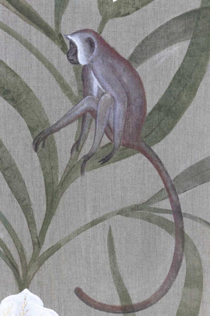 Toile Fleurs blanches et singes singe 1