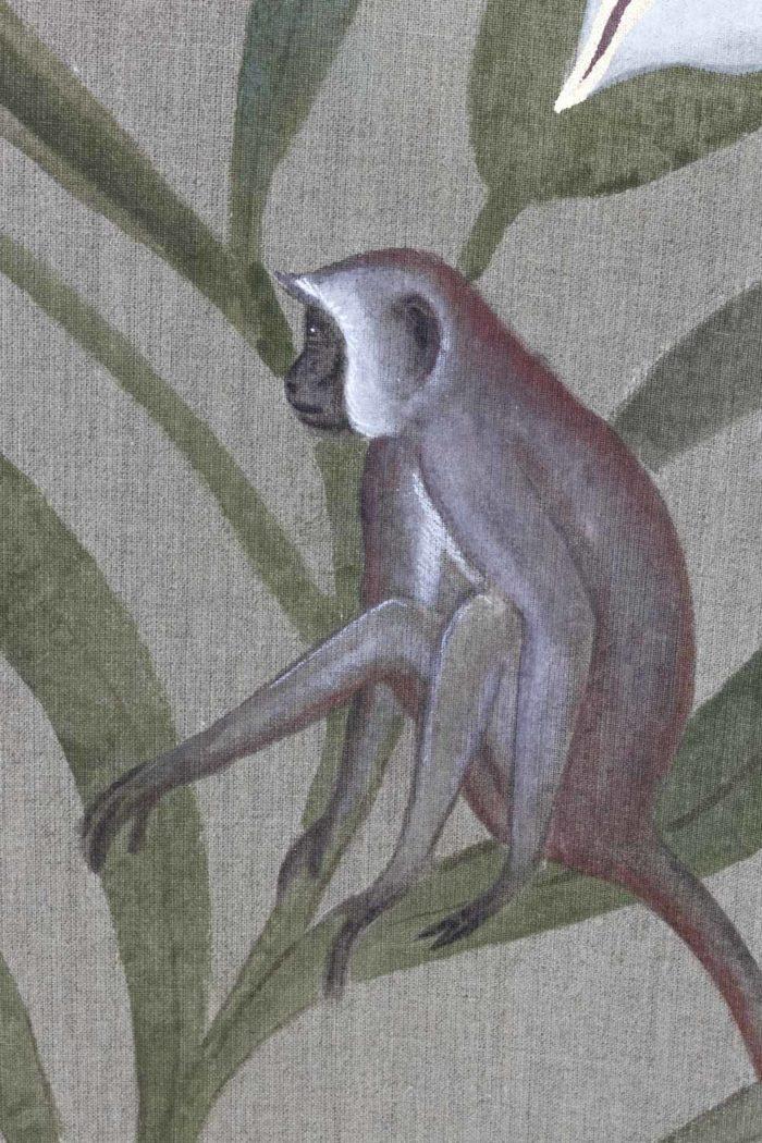 Toile Fleurs blanches et singes singe 2