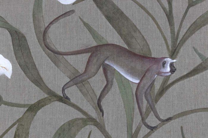 Toile Fleurs blanches et singes singe 3