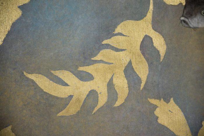 Toile carpes feuille dorée