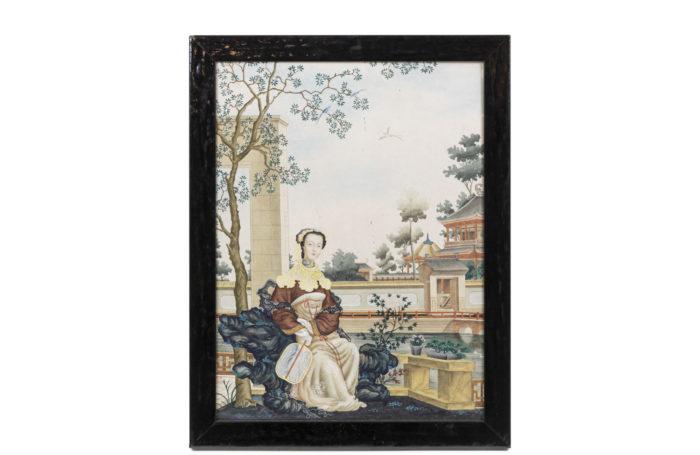 aquarelle jeune femme style chinoisant