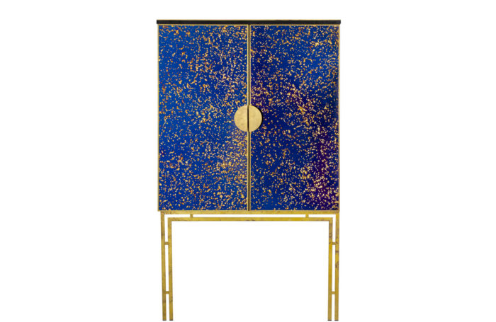 cabinet oxidized mirror gilt brass