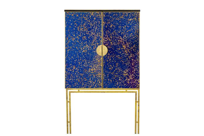 cabinet oxidized mirror gilt brass