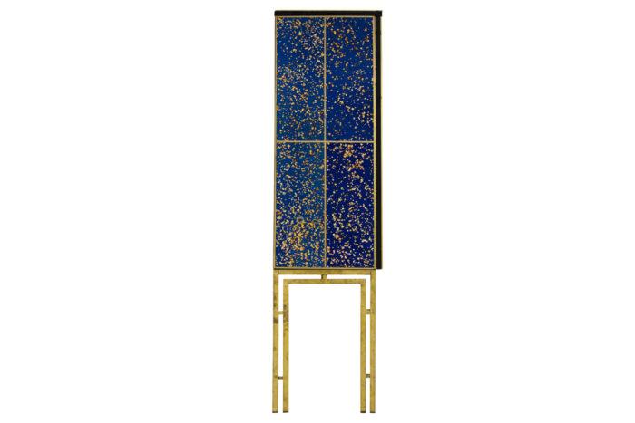 cabinet oxidized mirror gilt brass contemporary