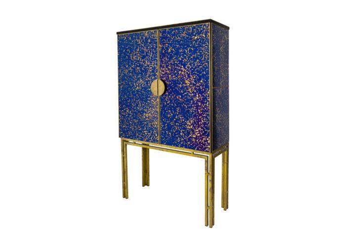 cabinet oxidized mirror gilt brass italian work