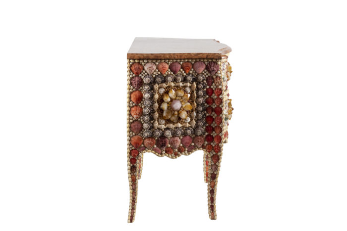 commode style louis xv coquillages quartz side