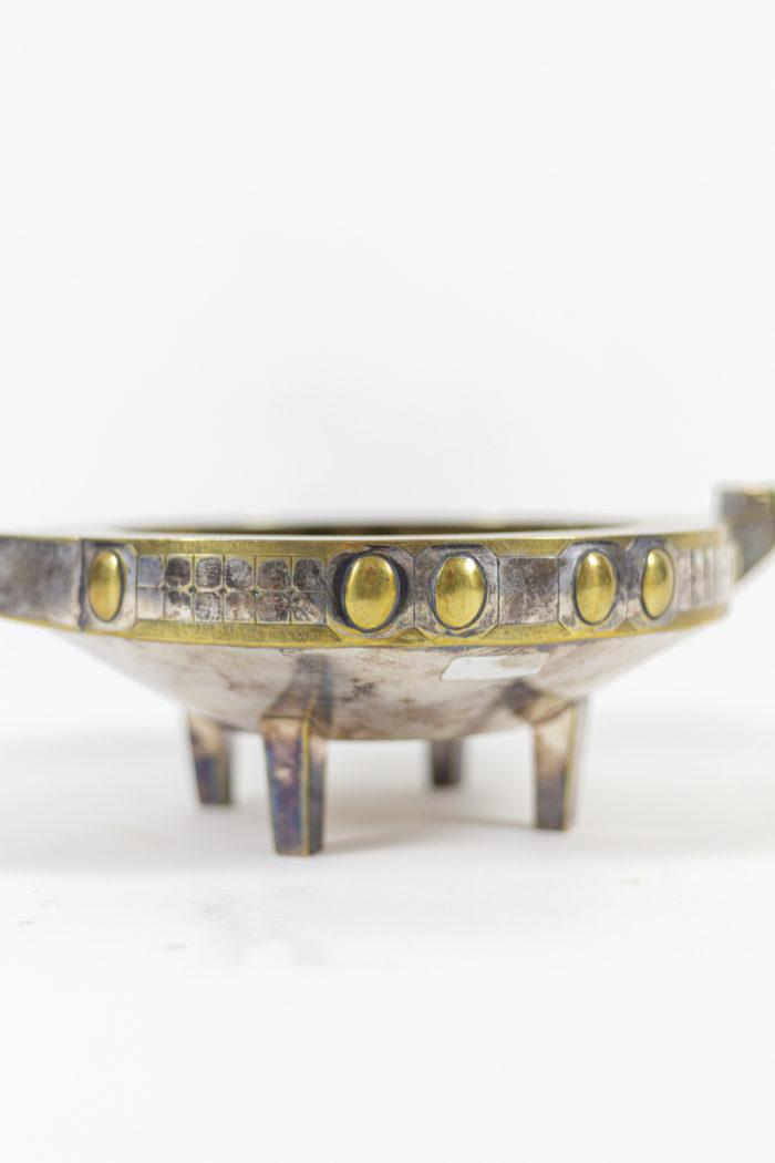 coupe jugendstil métal argenté et doré détail