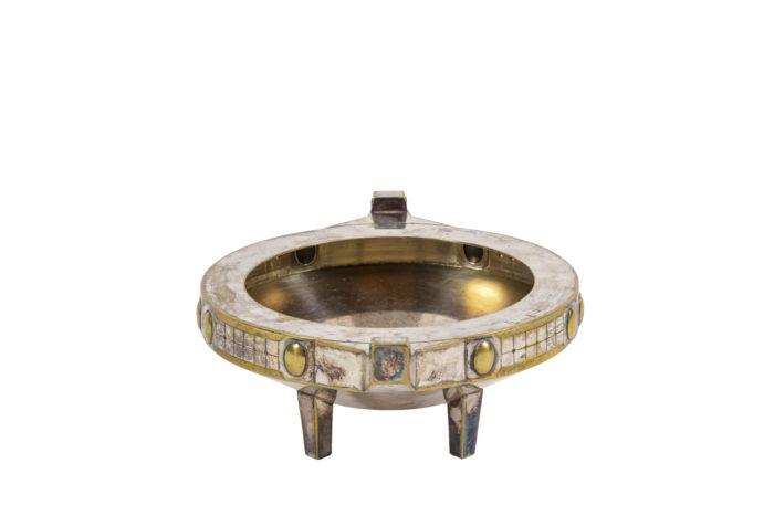 coupe jugendstil métal argenté et doré side