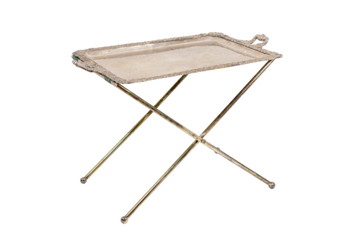 serving table silvered metal