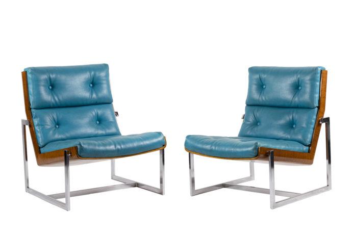 fauteuils cuir bleu contreplaqué métal chromé