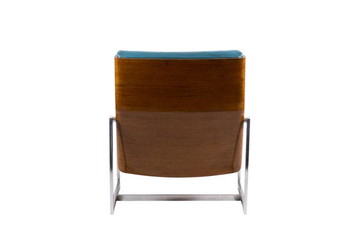 fauteuils cuir bleu contreplaqué métal chromé dos