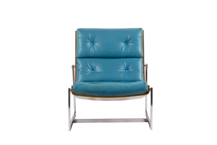 fauteuils cuir bleu contreplaqué métal chromé face