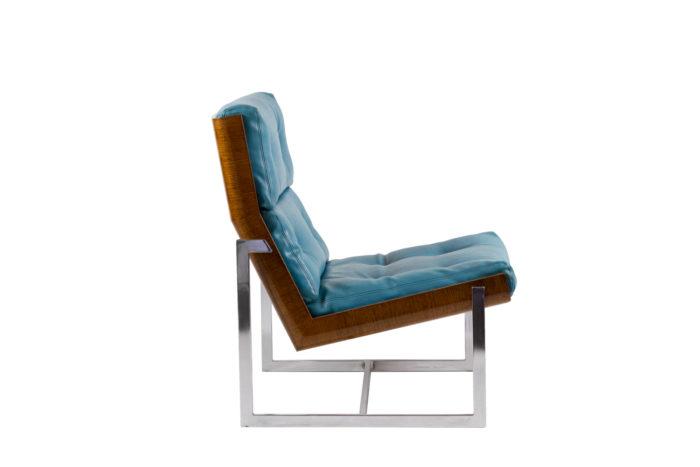 fauteuils cuir bleu contreplaqué métal chromé side